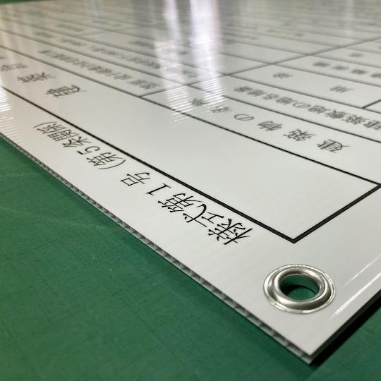 外壁、屋根などのリフォーム会社の建築業の許可票看板を厚さ5mmのダンプラで製作